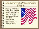 indicators of unacceptable credit30