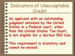 indicators of unacceptable credit35