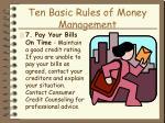 ten basic rules of money management21