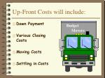 up front costs will include