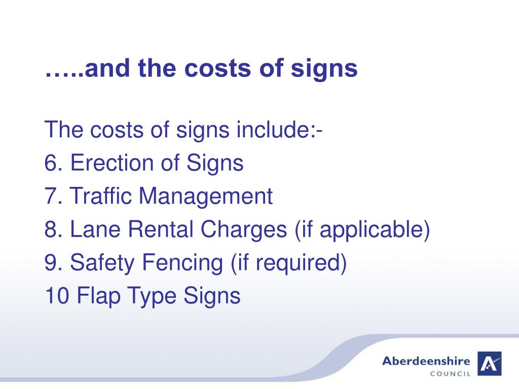 …..and the costs of signs