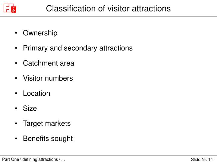 definition of visitor attractions Trying to be precise, short and sharp i have to say that in its broadest sense, tourism marketing is the business discipline of attracting visitors to a specific location.