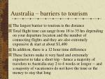 australia barriers to tourism