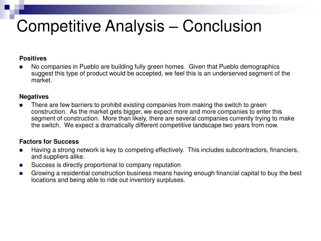 Competitive Analysis – Conclusion