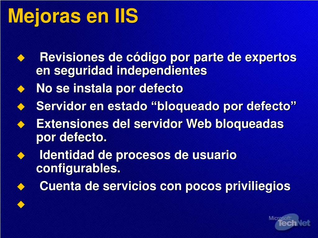 Mejoras en IIS