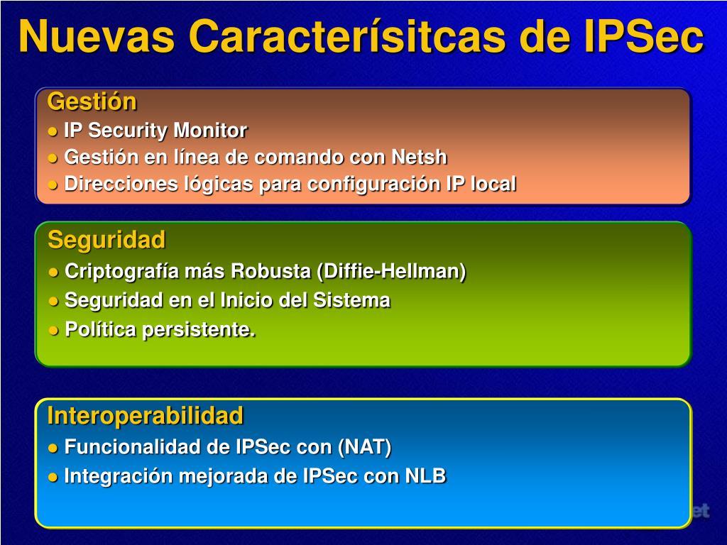 Nuevas Caracterísitcas de IPSec