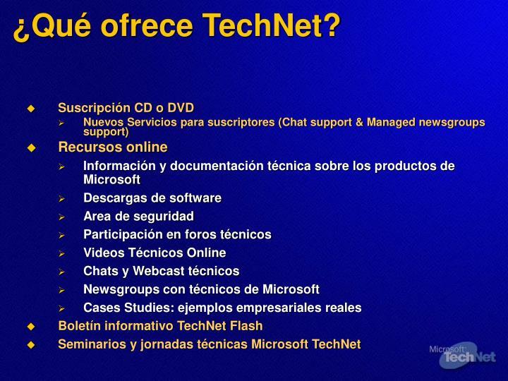 Qu ofrece technet
