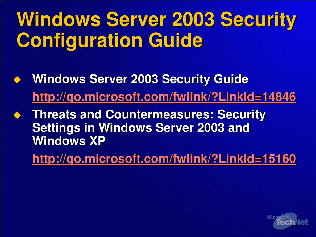 Windows Server 2003 Security Configuration Guide