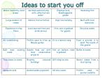 ideas to start you off