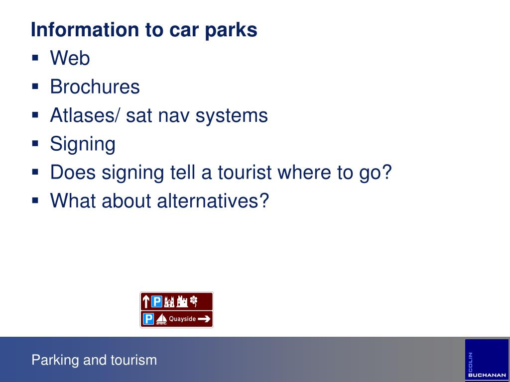Information to car parks