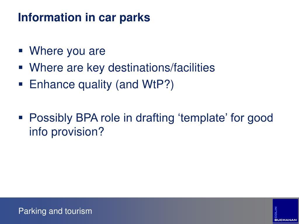 Information in car parks