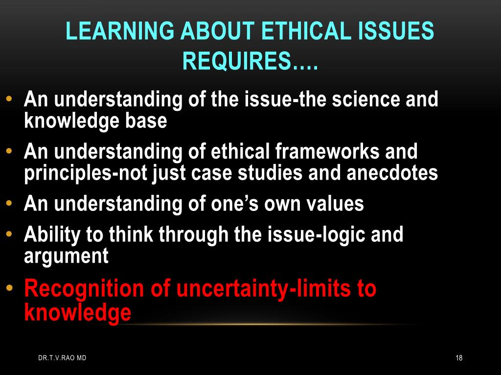 An understanding of the issue-the science and knowledge base