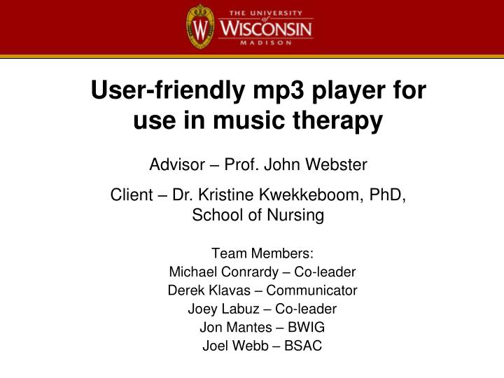 User friendly mp3 player for use in music therapy