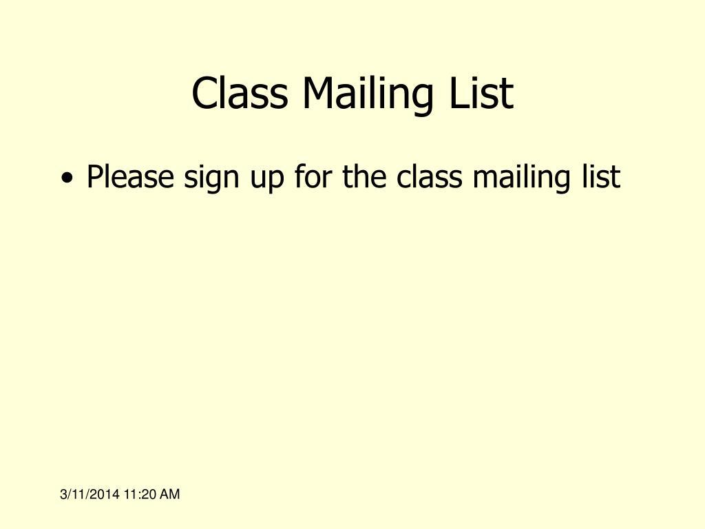 Class Mailing List