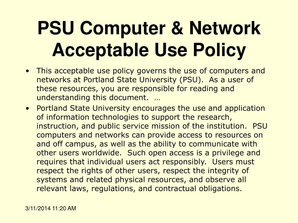 PSU Computer & Network Acceptable Use Policy