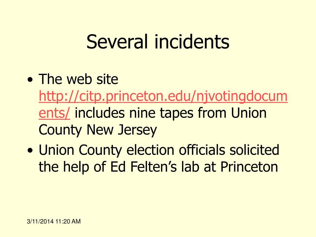 Several incidents