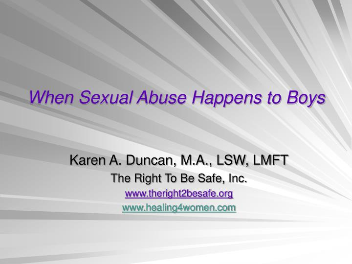 when sexual abuse happens to boys n.
