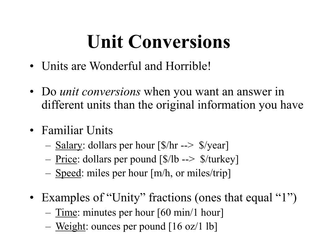 unit conversions l.