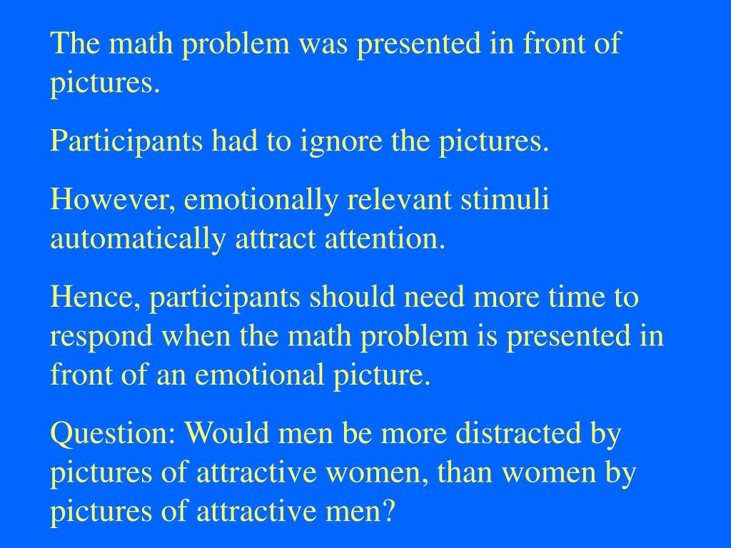 The math problem was presented in front of pictures.