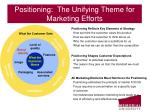 positioning the unifying theme for marketing efforts