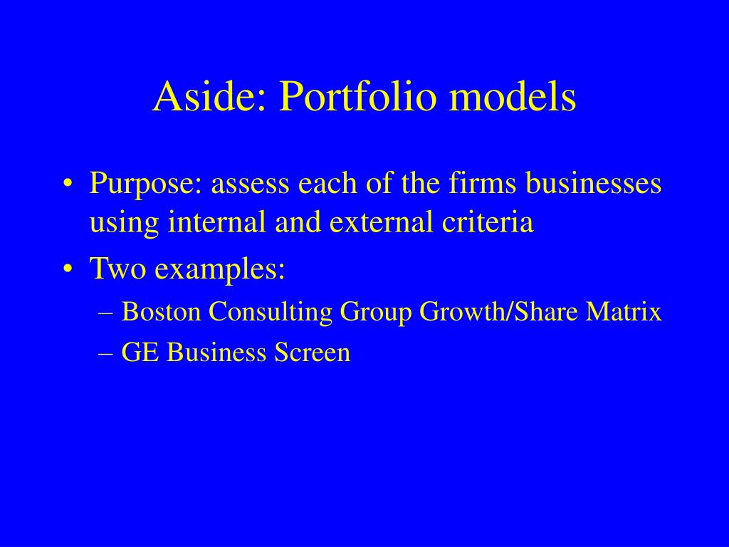 Aside: Portfolio models