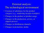 external analysis the technological environment