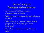 internal analysis strengths and weaknesses