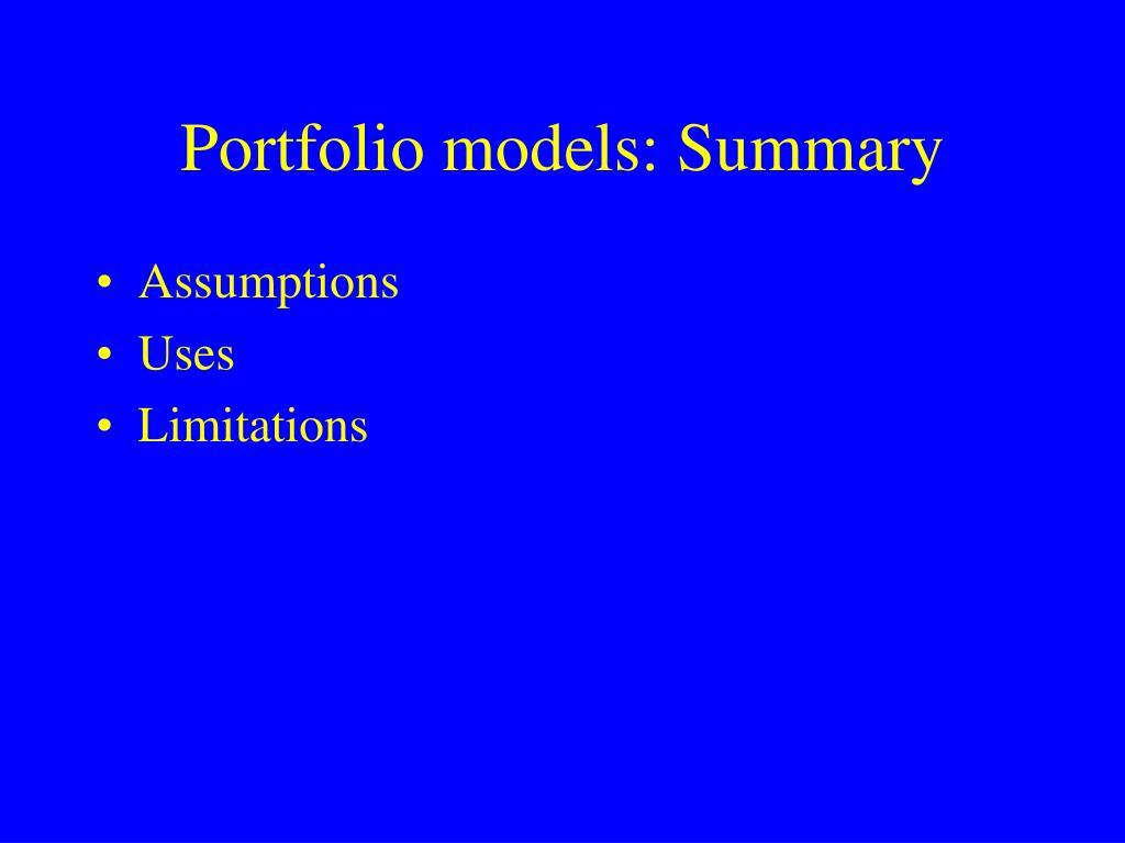 Portfolio models: Summary