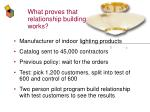 what proves that relationship building works