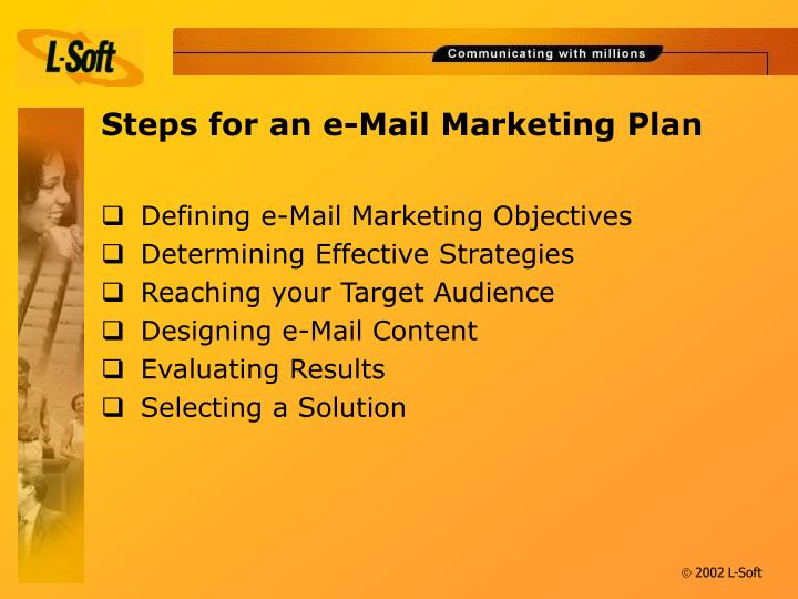 Steps for an e mail marketing plan