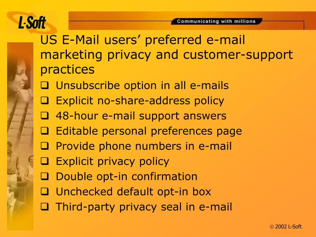 US E-Mail users' preferred e-mail marketing privacy and customer-support practices