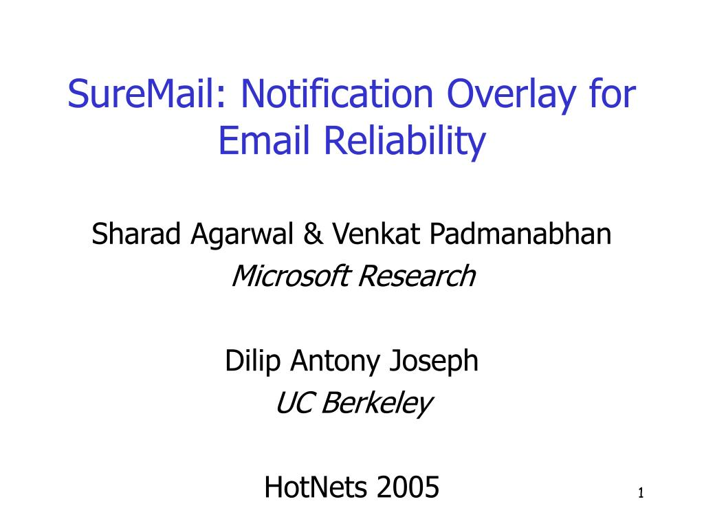 suremail notification overlay for email reliability l.