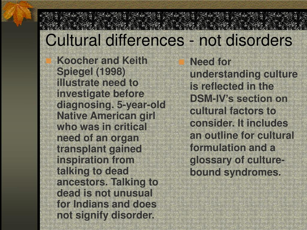 Koocher and Keith Spiegel (1998) illustrate need to investigate before diagnosing. 5-year-old Native American girl who was in critical need of an organ transplant gained inspiration from talking to dead ancestors. Talking to dead is not unusual for Indians and does not signify disorder.