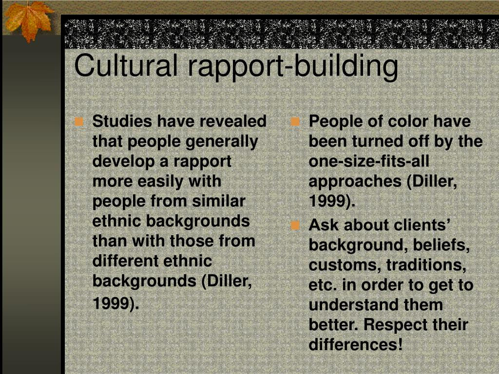 Studies have revealed that people generally develop a rapport more easily with people from similar ethnic backgrounds than with those from different ethnic backgrounds (Diller, 1999).