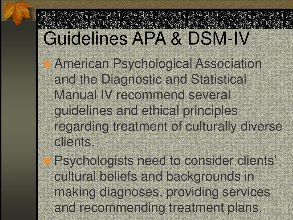 Guidelines APA & DSM-IV