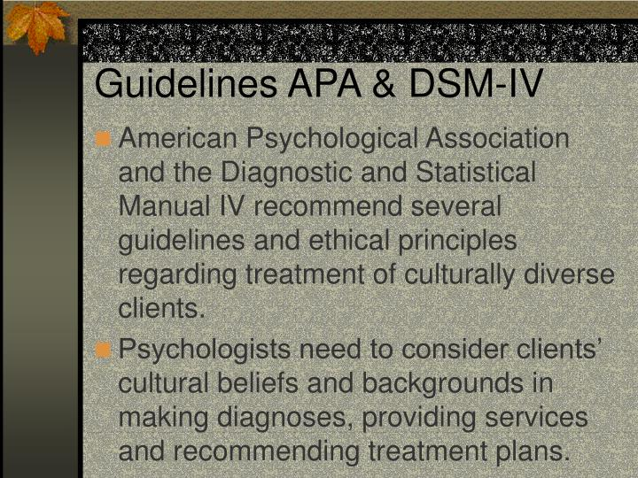 Guidelines apa dsm iv