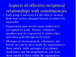 aspects of effective reciprocal relationships with constituencies