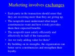 marketing involves exchanges