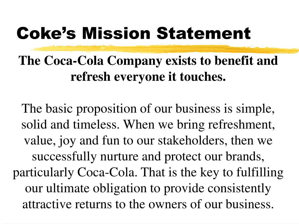 Coke's Mission Statement