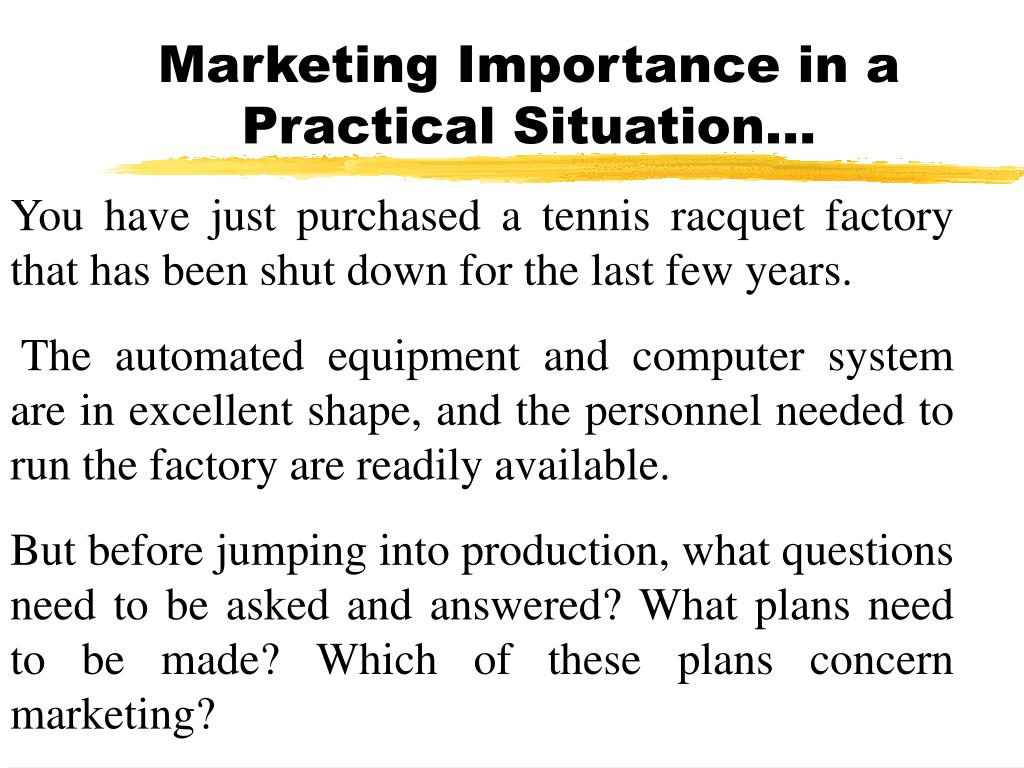 Marketing Importance in a Practical Situation…