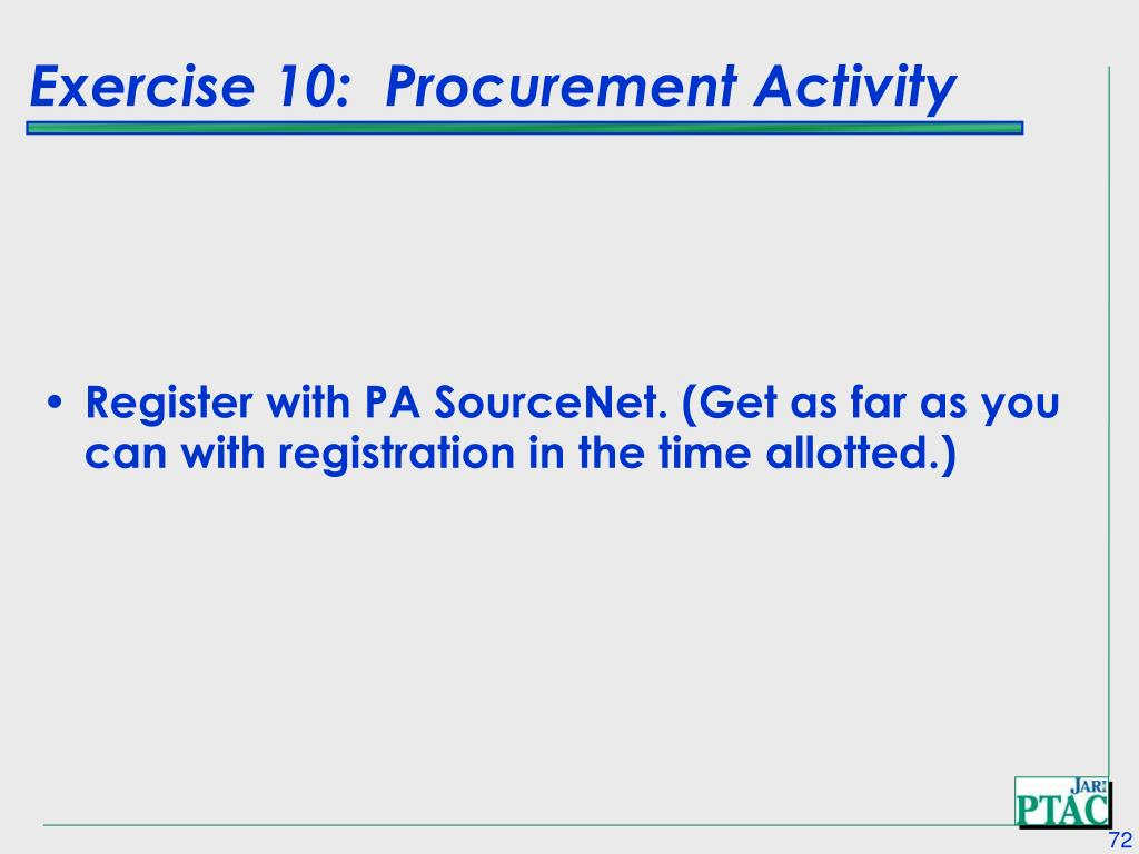 Exercise 10:  Procurement Activity