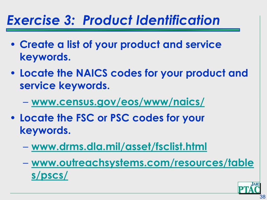 Exercise 3:  Product Identification