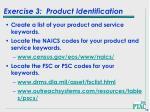 exercise 3 product identification