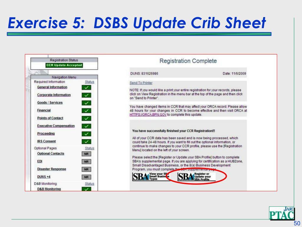 Exercise 5:  DSBS Update Crib Sheet
