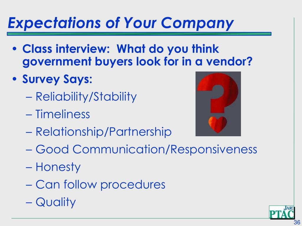 Expectations of Your Company