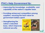 ptacs help government by