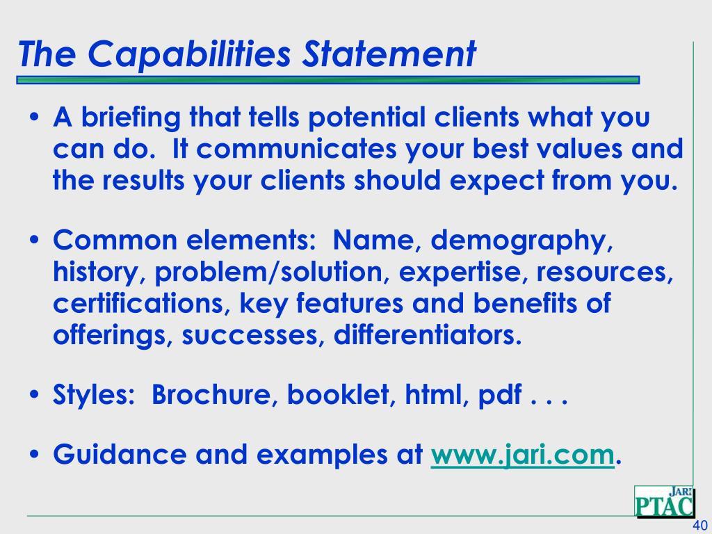 The Capabilities Statement