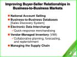 improving buyer seller relationships in business to business markets