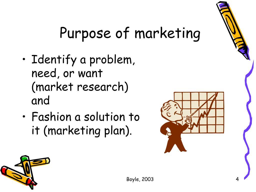 Purpose of marketing