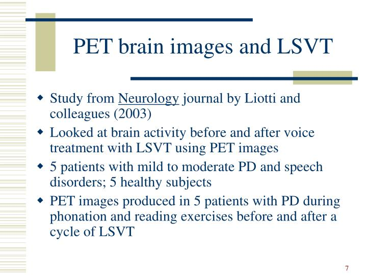 PET brain images and LSVT
